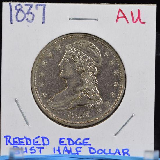 1837 Bust Half Dollar Reeded Edge AU