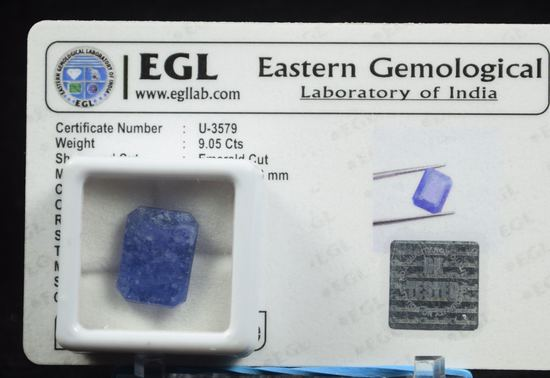9.05CT Natural Mined Sapphire w/EGL Certificate U-3579 Deep Color