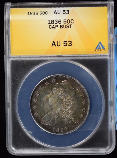 1836 Bust Half Dollar ANACS MS-53 Amazing Rainbow Tone Both Sides