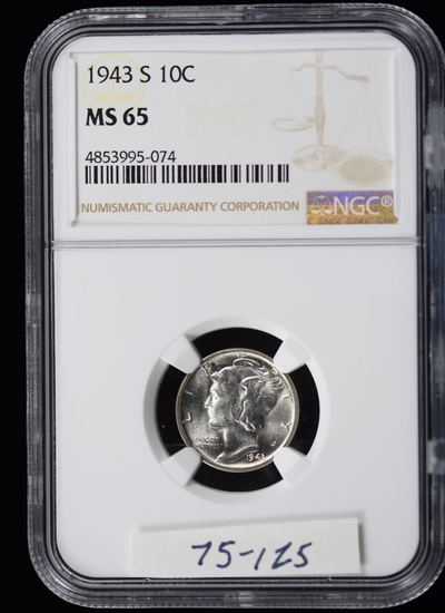 1943-S Mercury Dime NGC MS-65