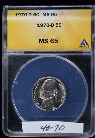 1970-D Jefferson Nickel ANACS MS-65