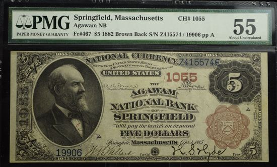 1882 $5 Brown Back Agawam NB of Springfield PMG 55 Very Rare Highest Grade