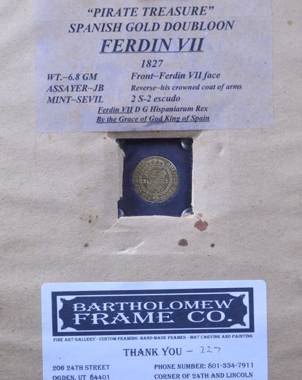 1827 Gold Spanish Doubloon Pirate Treasure Framed