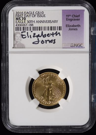 2016 $10 Gold First Day Issue NGC MS-70 1/4oz