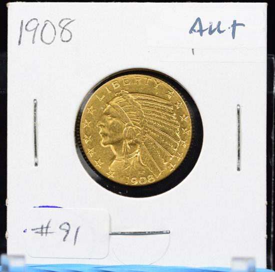 1908 $5 Gold Indian AU Plus