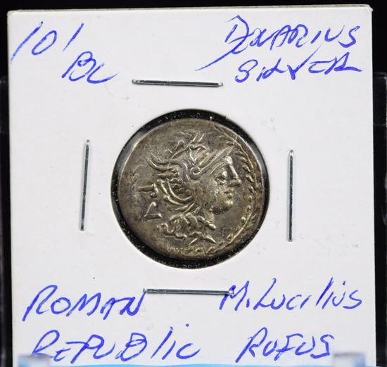 101BC Silver Ancient Rome Republic M Lucilius Rufus Very Scarce