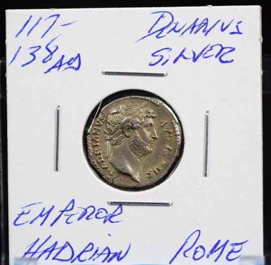 117-138 AD Silver Denarius Emperor Hadrian Rome Scarce High Relief