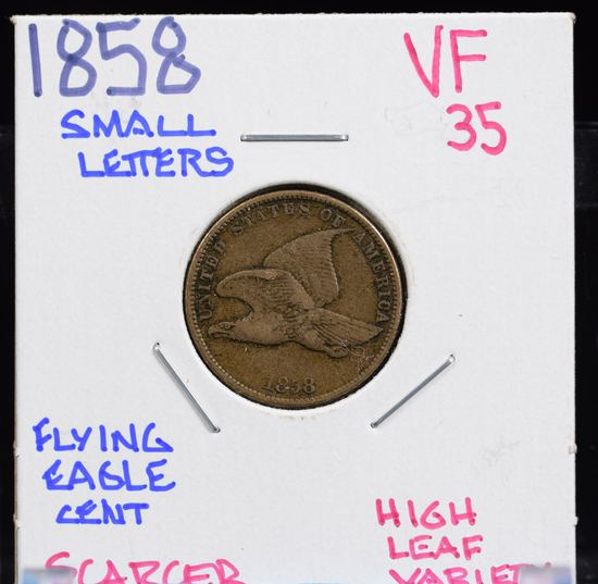 1858 SL Flying Eagle Cent VF35