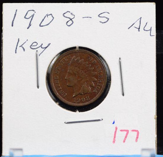 1908-S Indian Head Cent AU