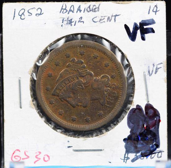 1852 Large Cent VF