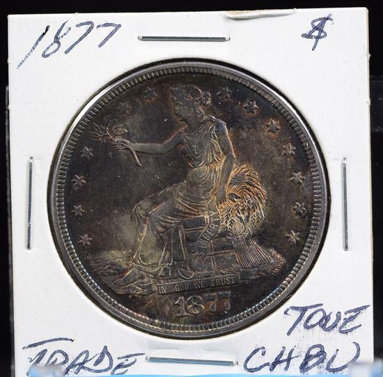 1877 Trade Dollar CH BU Rainbow Tone Good Strike Scarce