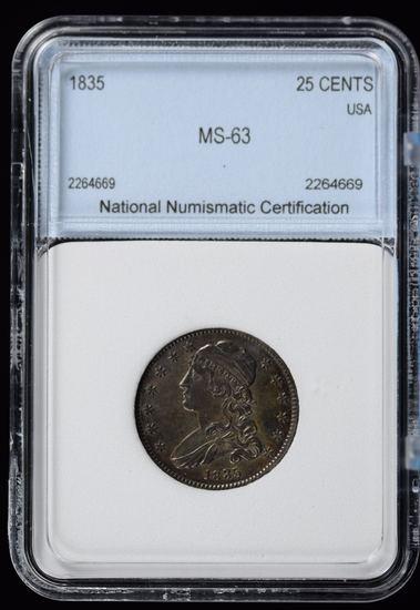 1835 Bust Quarter NNC MS63 RARE Fully Struck Nice Tone GS $3500