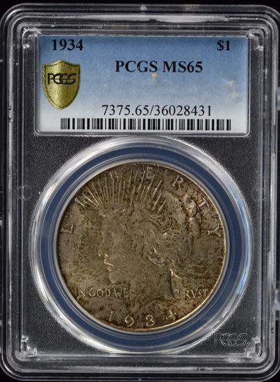 1934 Peace Dollar Nice Toning PCGS MS-65