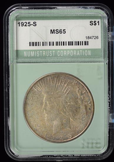 1925-S Peace Dollar Fully Struck NTC MS65 GS $18,000