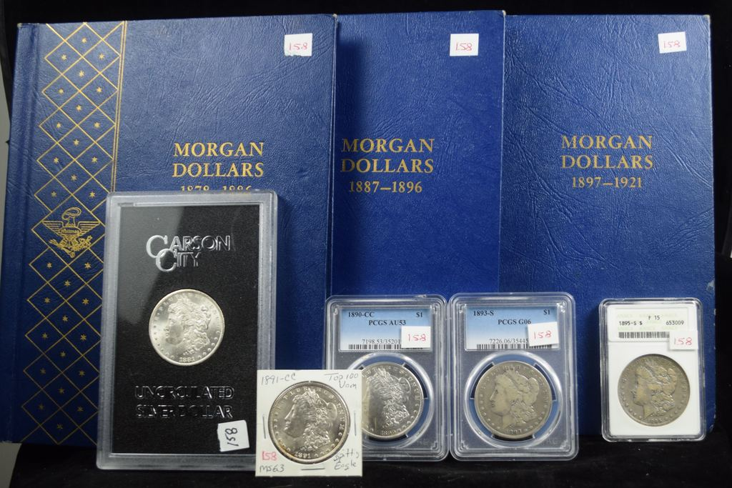 Complete Set Morgan Dollars 3 Books & Holders VG-GEM BU