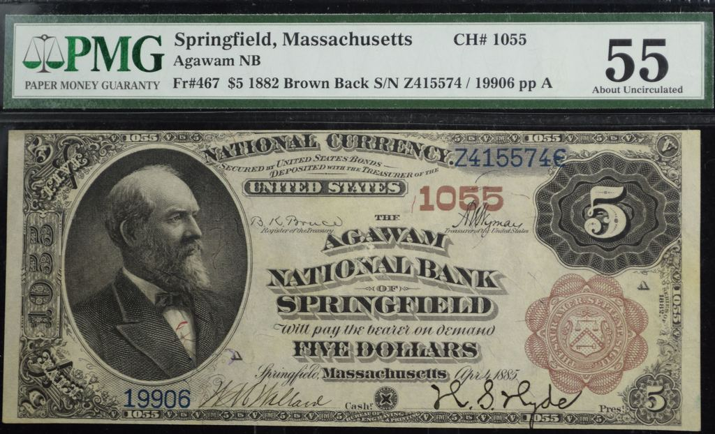 1882 $5 Brown Back Agawam NB Springfield PMG 55 RARE Only 4