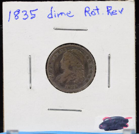 1835 Bust Dime Rotated Reverse VF