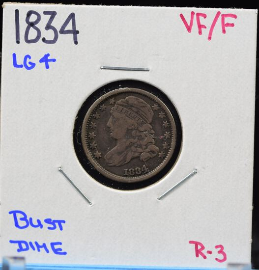1834 Bust Dime VF/F Large 4 R3