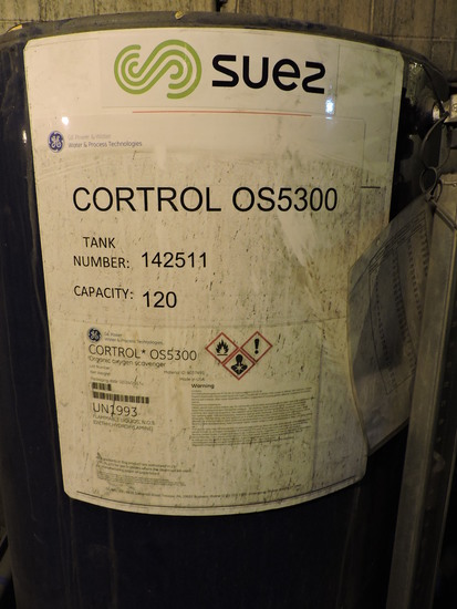 SUEZ Steamate OS5300 Treatment Tank.  Tank # 142511.  Organic Oxigen Scavenger.