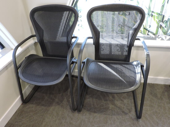 HERMAN MILLER Office Chairs  3D01  Non-Rolling  PAIR (2)
