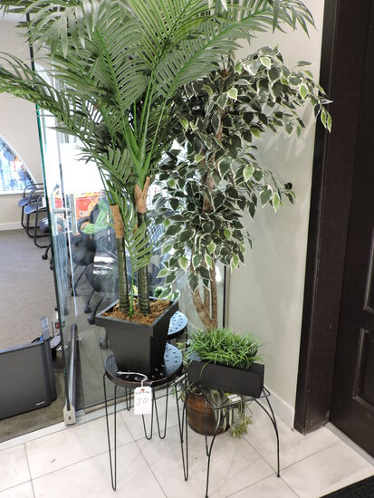 Lot of 3 Sm Tables and Various Faux Office Plants