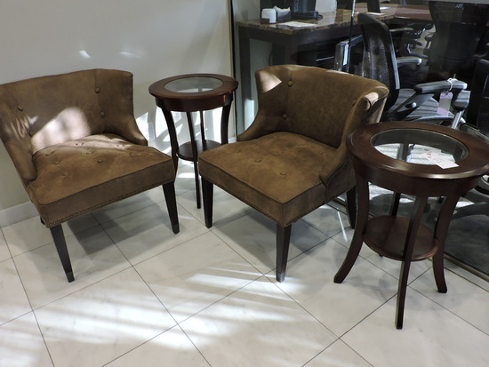 Lot of 2 Upholstered Faux Suede Chairs & 2 Wood Side Tables
