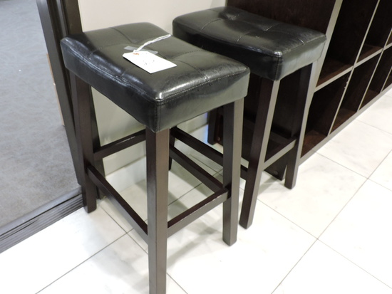 """Pair of Upholstered Stools - Faux Leather -- 24.5"""" Tall"""