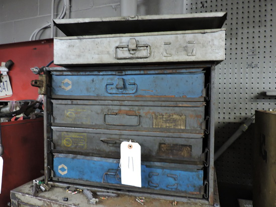 5 Steel Parts Boxes / Drawers with Contents - See Photos