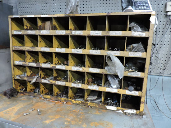 Steel Parts Bins with Contents - New Machine Grade Bolts, Etc….