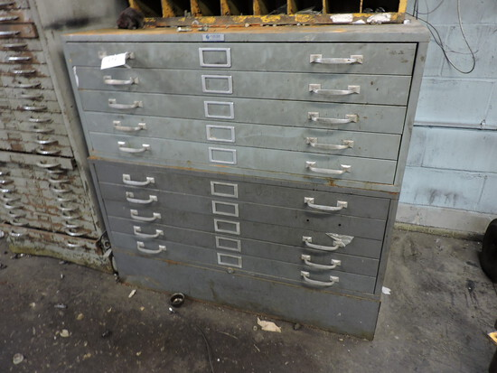 Pair of Wide Blue Print Cabinets - Filled with Used Parts
