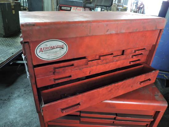 """Red Steel Tool Box -- 26.5"""" Wide X 14.5"""" Tall X 13"""" Deep"""