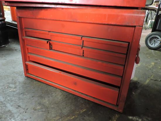"""Red Steel Tool Box -- 26.5"""" Wide X 17.5"""" Tall X 15"""" Deep"""