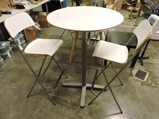 White Café' Table with Tall Folding Stools (2)