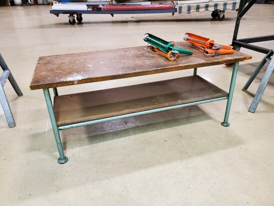 Custom Welded Steel & Wood Low Work Table - Very Solid