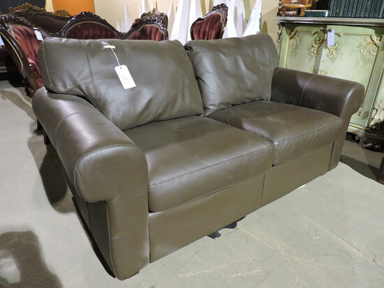 "Brown Faux Leather Love Seat - Approx 66"" Wide X 35"" Deep X 35"" Tall"