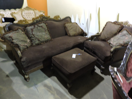 Victorian Style Sofa / Chair and Ottoman (3 total pieces)