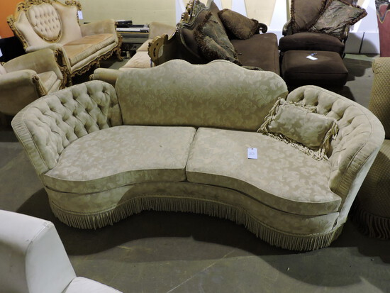 "Fancy Beige Cloth Sofa / Couch - Approx. 91"" Wide X 42"" Deep X 34"" Tall"