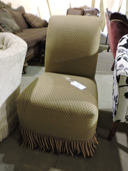 "Single Tan Cloth Chair - Approx. 36"" Tall"