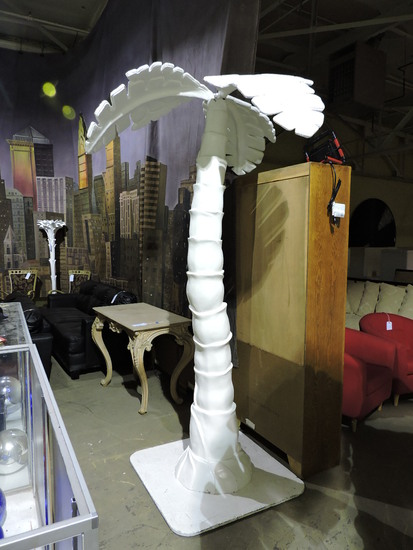 White Faux Decorative Palm Tree - Fiberglass Construction