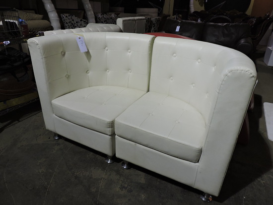 Modern 2-Part Love Seat - White - Faux Leather