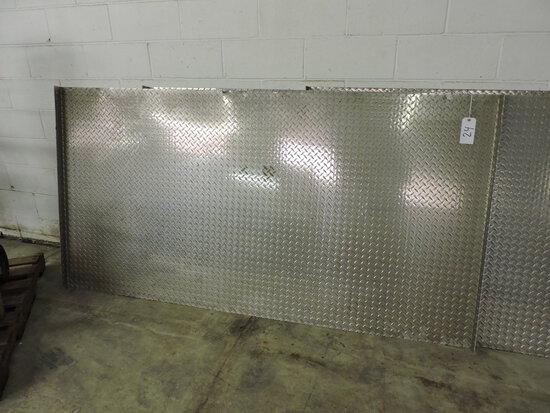 "Sheet of Diamond Plate Aluminum Flooring / Raised Sides - 92"" Across"