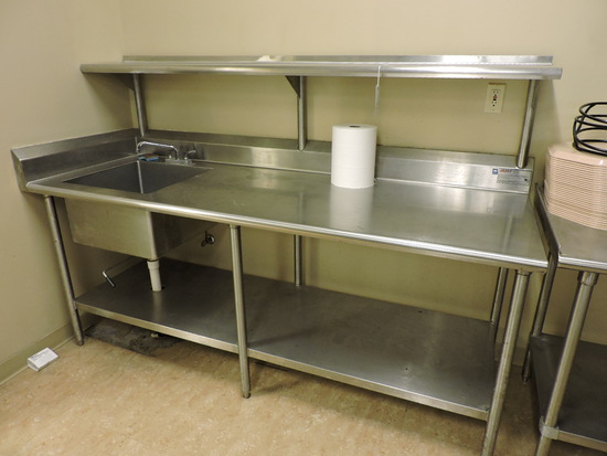 EAGLE Brand 3-Level Stainless Steel PREP TABLE WITH BUILT-IN SINK