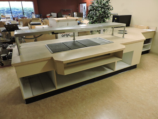 STEAM TABLE & HEAT-LAMP STATION / Very Large - See Description