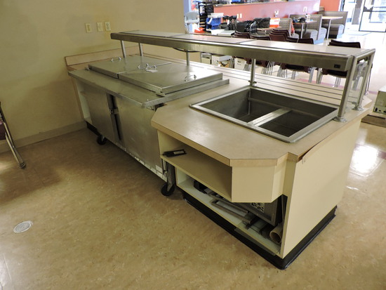 STEAM TABLE STATION with Beverage-Air OPEN-TOP COOLER