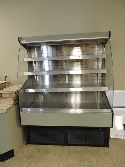 4-Level Refrigerated Retail Display Case - Stainless Steel Shelves