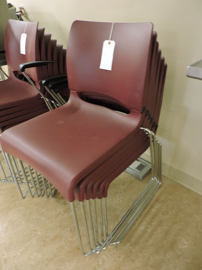 """4 Plastic Waiting Room / Cafeteria Chairs - 33"""" Seat Back with an 18"""" Seat Height"""