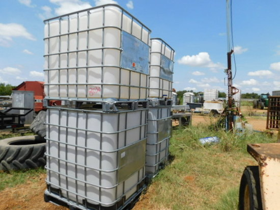 **SOLD**(4) 300 GAL APPX PLASTIC TOTES  w/ FRAMES