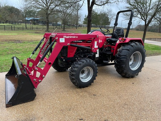 *NOT SOLD* MAHINDRA 4540 4X4 DIESEL TRACTOR WITH MAHINDRA 6'  SHREDDER 61.3 HOURS