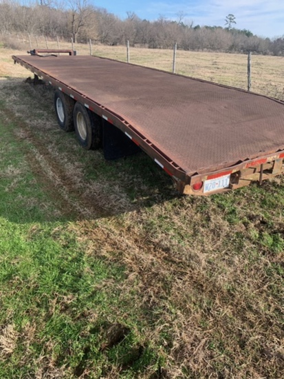 NOT SOLD PINTLE HITCH TANDEM DUAL FLAT BED TRAILER