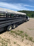 NOT SOLD 7x28 CANVAS TOP STOCK TRAILER WITH TITLE